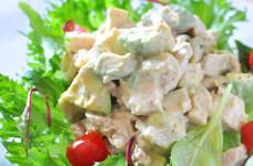 【♪】アボカドとチキンの豆腐サラダ