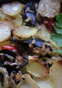 ムール貝とポテトとお米のオーブン焼き♪