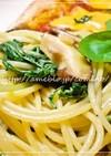 椎茸と水菜のペペロンチーノ☆