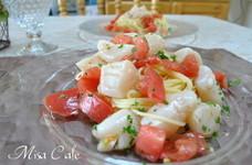 トマトとほたて貝柱の冷製パスタ