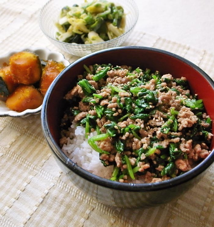 2食材で簡単ビビンパ風♪ホウレン草&挽肉