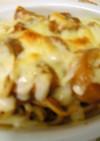 残ったカレーで♪チーズ焼きパスタ
