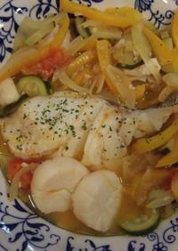 野菜たっぷり☆鱈のアクアパッツァ
