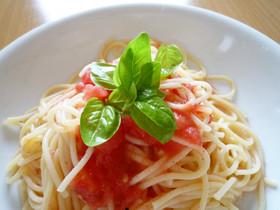 冷凍トマトで冷製トマトパスタ