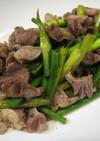 砂肝とにんにくの芽の炒め物