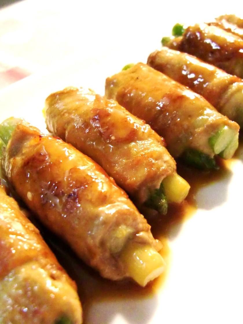 アスパラの豚肉巻き✿照りマヨ生姜たれ✿