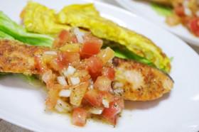 夏♪鮭のムニエル・フレッシュトマトソース