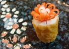 キャラ弁に☆竹輪とカニカマdeお花