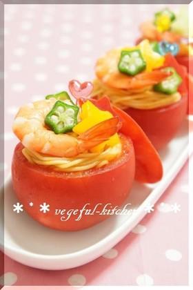 夏☆七夕にトマトとそうめんの冷たいサラダ