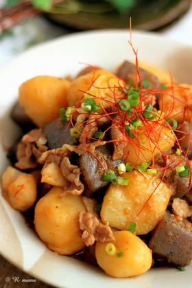 豚バラ蒟蒻とじゃが芋の韓流肉じゃが♪