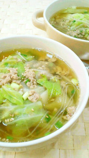 キャベツと豚挽肉のねぎごまスープの写真