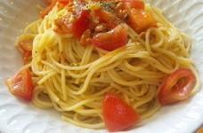 アサリのダシでトマトの冷製パスタ