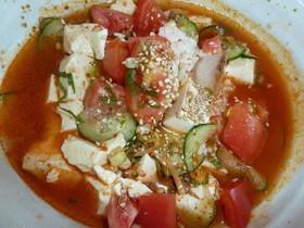 キムチと豆腐で冷たいスープご飯♪
