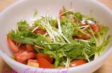 水菜とトマトの少しピリ辛、簡単サラダ☆