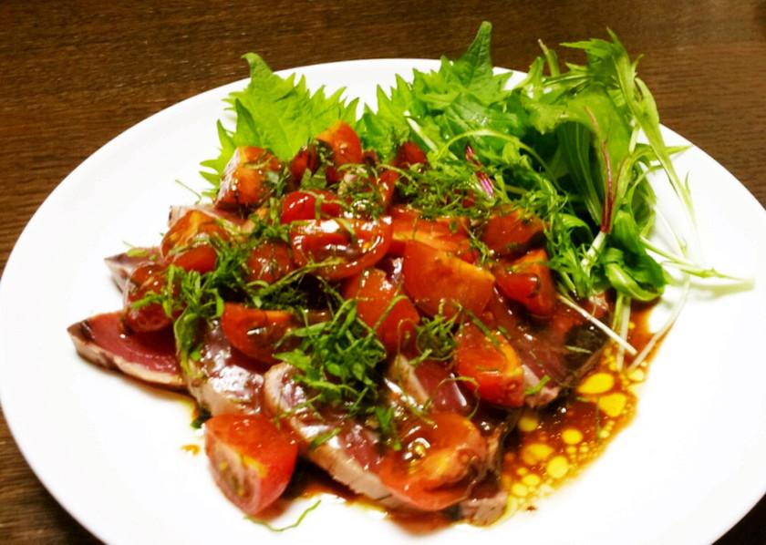 簡単イタリアン 鰹とトマトのカルパッチョ