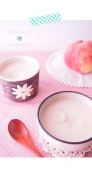 *桃と豆乳のひんやりおしるこ*の写真