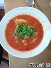 豚軟骨ひよこ豆トマトスープの写真