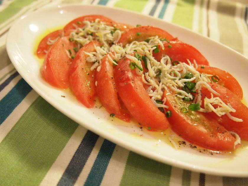 トマトのカルパッチョ*しらすまみれ