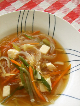 カロリー↓で満腹☆はるさめの食べるスープ