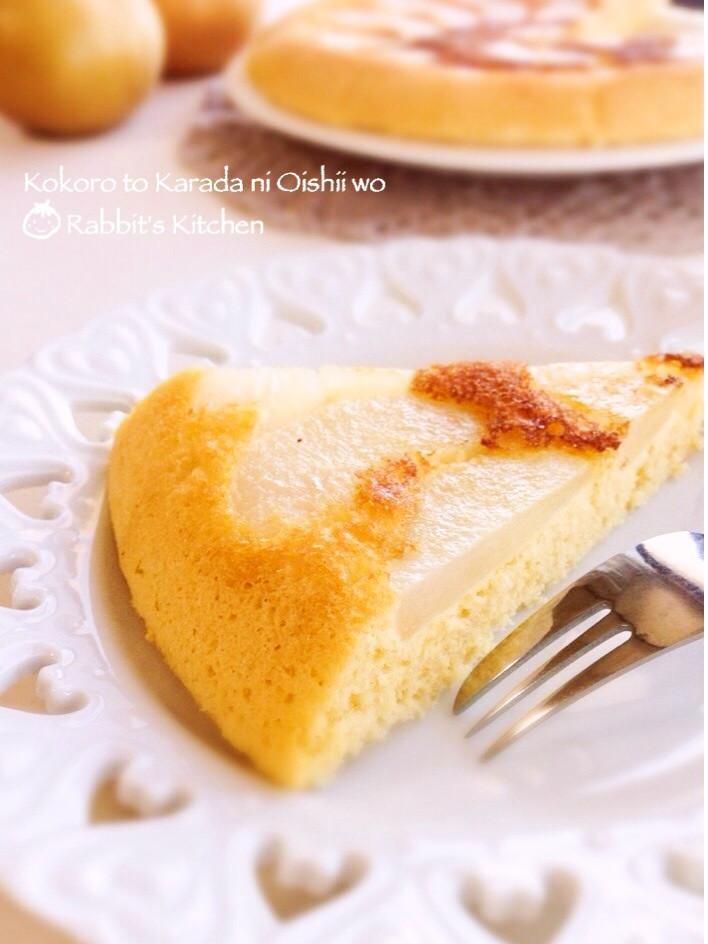 フライパンで焼く☆梨のプレーンケーキ