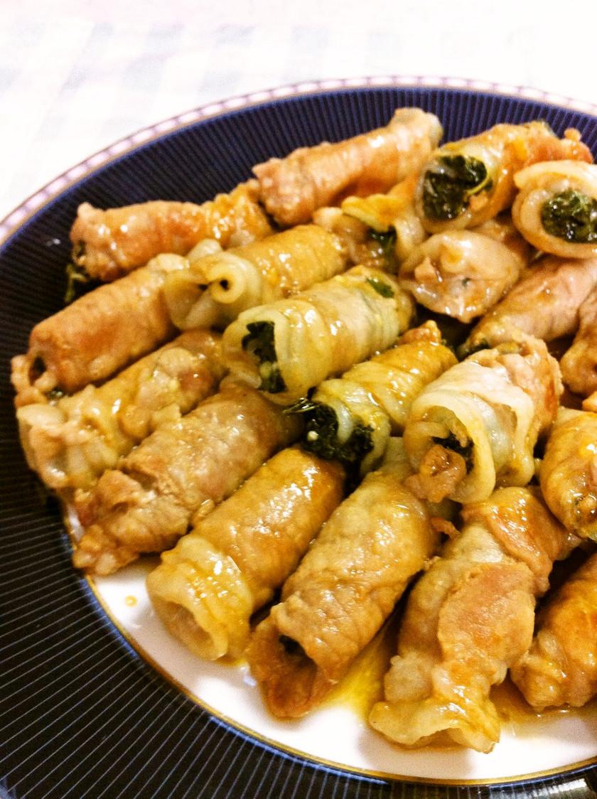 モロヘイヤと豚肉のロール焼き
