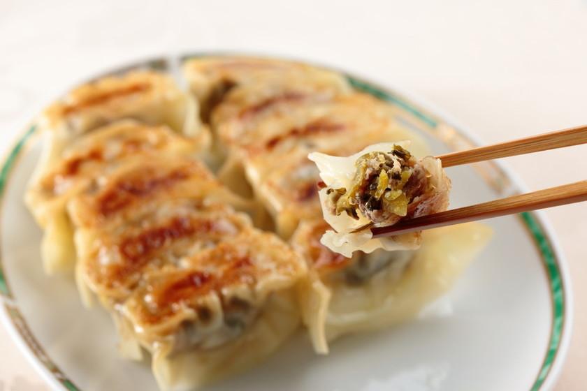 辛子高菜と豚挽き肉で簡単餃子★