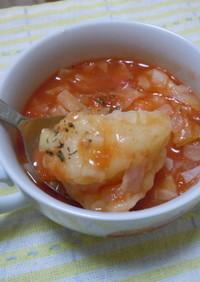 トマト缶で具沢山なトマトすいとんスープ