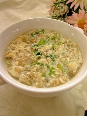 押し麦の豆乳リゾット~豆腐入り