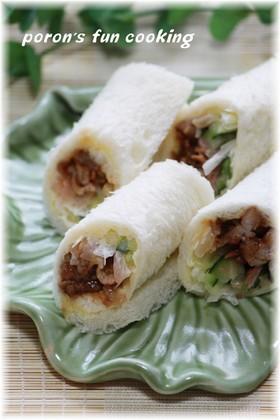 ✿豚肉の甜麺醤炒め*ロールサンド✿