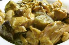 茄子と鶏肉のカレーマヨネーズソース炒め