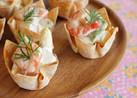 パーティーに☆簡単シューマイの皮のミニ皿