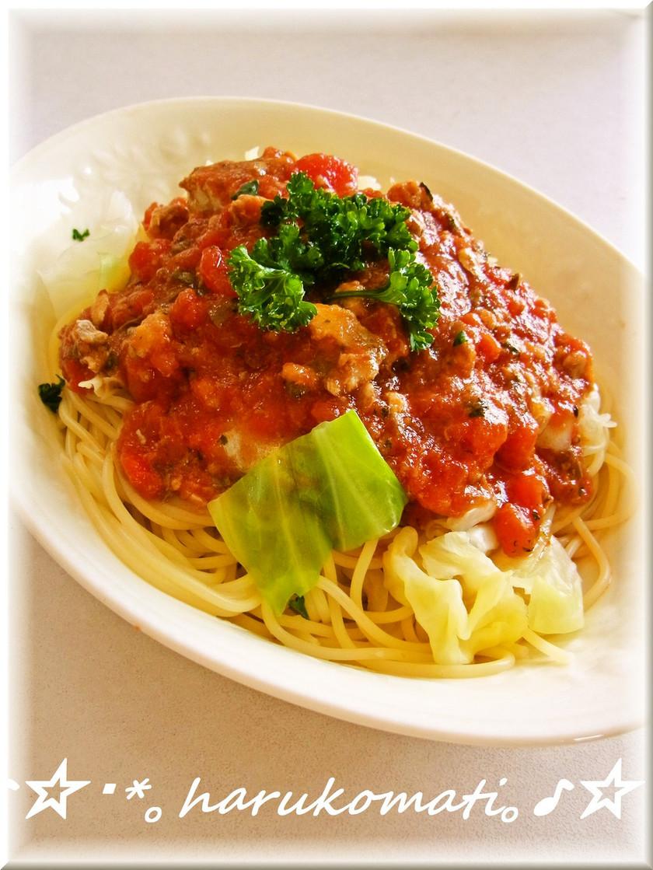 鯖とトマトのパスタ♡缶詰で簡単♪