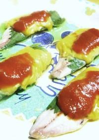 イワシの洋風トマト蒸し焼き