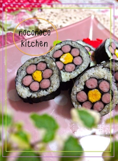 ポークビッツの*お花*飾り巻き寿司