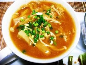 キムチ鍋の素で味噌キムチスープ