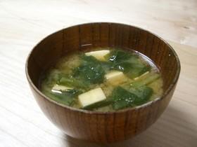 高野豆腐と小松菜のお味噌汁