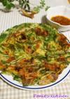 たっぷり水菜とキムチとチーズのチヂミ♪