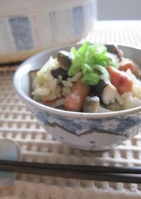 ポークビッツと茸の土鍋ご飯