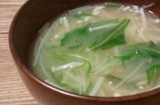 3分で完成☆水菜とえのきのお味噌汁