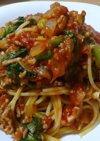 ●小松菜とひき肉のトマトパスタ●