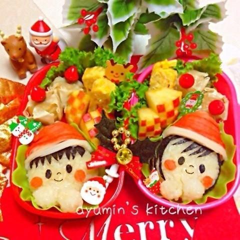 *キャラ弁*クリスマス*サンタ帽の子供♫
