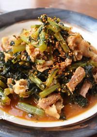 大根の葉と豚バラ肉の味噌炒め