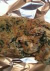 春菊とコンビーフ・チーズのオムレツ