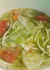 バジル風味のスープパスタ