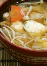 寒い日に☆白菜とふわふわ鶏団子のスープ