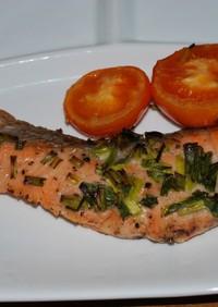 鮭ムニエルのオーブン焼き♪トマトと一緒に