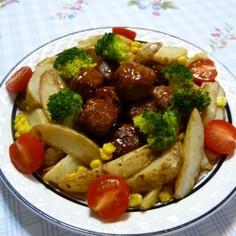 甘酢肉だんごde甘酢ポテト:レオン亭