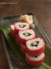 紅芯大根の巻き寿司。の写真