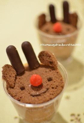 簡単クリスマス☆トナカイのチョコケーキ♪