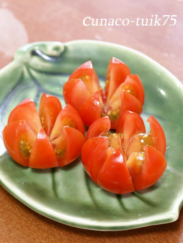 簡単すぎる。ミニトマトの飾り切り